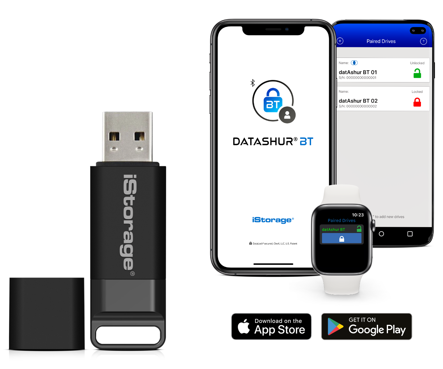 Image of datAshur BT and smart devices