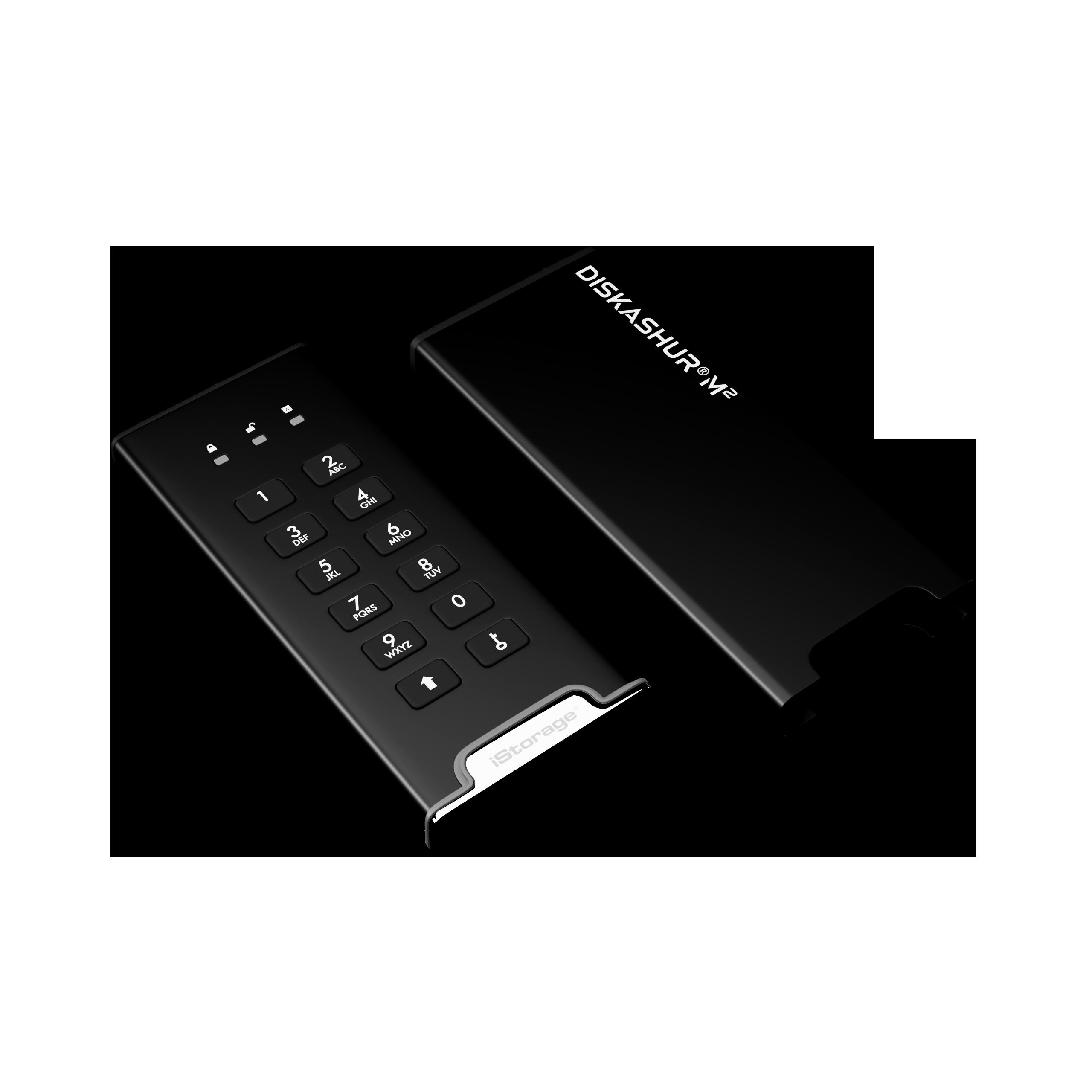 Unit/à SSD portatile USB 3.2 autenticata con PIN con crittografia hardware ultra veloce compatibile con FIPS iStorage diskAshur M2 1TB robusto e portatile.